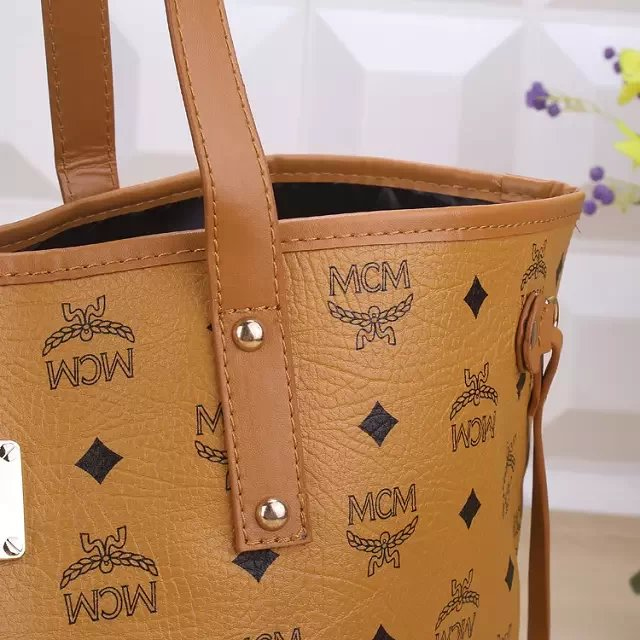 Outlet MCM Bags Replica Brown Shopper Tote US
